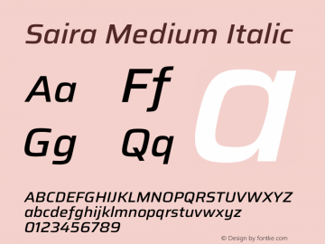 Saira Medium Italic Version 1.100图片样张
