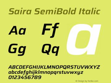 Saira SemiBold Italic Version 1.100图片样张