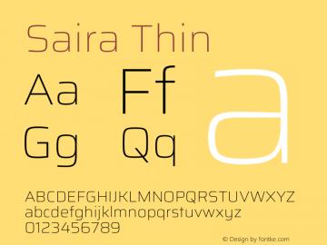 Saira Thin Version 1.100图片样张
