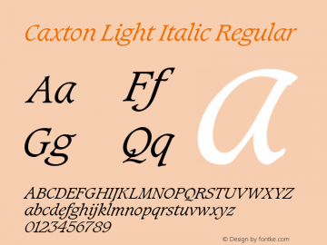 Caxton Light Italic Regular Version 2.0 Font Sample