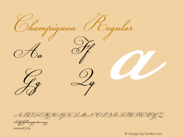 Champignon Regular Version 1.000;PS 001.000;hotconv 1.0.38 Font Sample