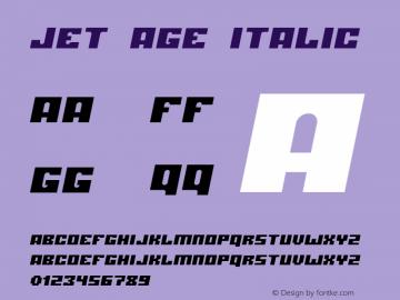 jet age Italic 2001; 1.1 Font Sample