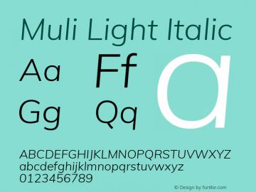 Muli Light Italic Version 2.001 Font Sample