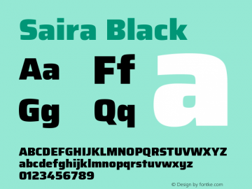 Saira Black Version 0.072图片样张