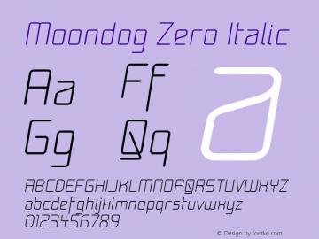 Moondog Zero Italic 1.0 Font Sample