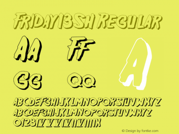 Friday13SH Regular OTF 1.000;PS 001.003;Core 1.0.29 Font Sample