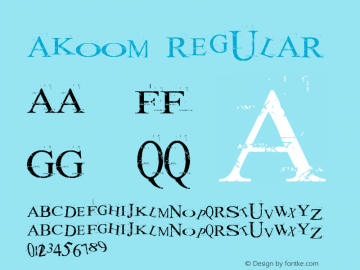 akoom Regular Macromedia Fontographer 4.1 25/12/2001 Font Sample