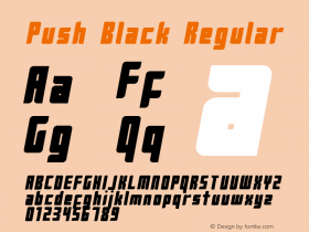 Push Black Regular 2001; 1.0, initial release Font Sample