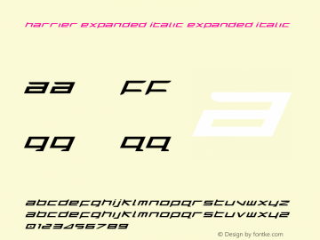 Harrier Expanded Italic Expanded Italic 1 Font Sample