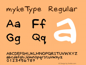 mykeType Regular Macromedia Fontographer 4.1.4 12/28/01图片样张