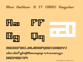 Mini Kaliber O TT (BRK) Regular Version 3.22 Font Sample