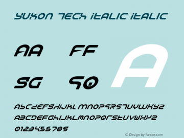 Yukon Tech Italic Italic 1 Font Sample