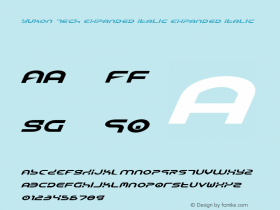 Yukon Tech Expanded Italic Expanded Italic 1 Font Sample