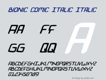 Bionic Comic Italic Italic 1 Font Sample