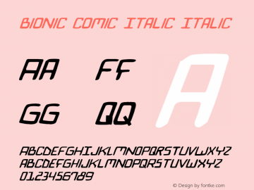 Bionic Comic Italic Italic 2 Font Sample