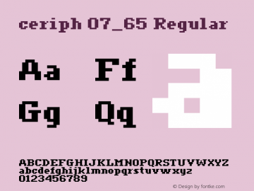 ceriph 07_65 Regular Macromedia Fontographer 4.1.4 12/31/01 Font Sample