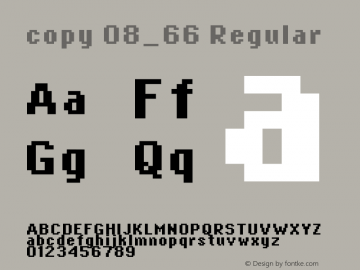 copy 08_66 Regular Macromedia Fontographer 4.1.4 5/21/03 Font Sample