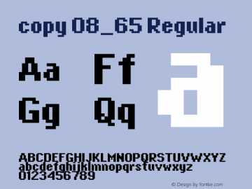 copy 08_65 Regular Macromedia Fontographer 4.1.4 5/21/03 Font Sample