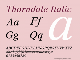 Thorndale Italic Version 1.00图片样张