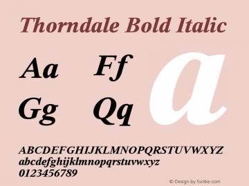 Thorndale Bold Italic Version 1.00 Font Sample
