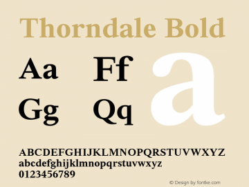 Thorndale Bold Version 1.00 Font Sample
