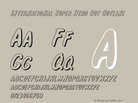 International Super Hero Out Outline 1 Font Sample