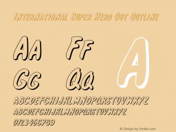 International Super Hero Out Outline 1 Font Sample