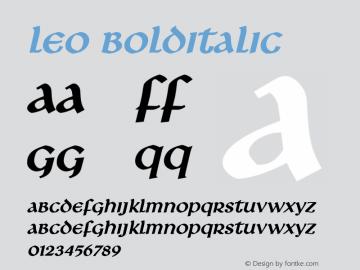 Leo BoldItalic Altsys Fontographer 4.1 1/8/95 Font Sample