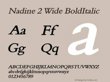 Nadine 2 Wide BoldItalic Altsys Fontographer 4.1 1/9/95 Font Sample