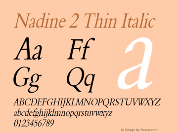 Nadine 2 Thin Italic Altsys Fontographer 4.1 1/9/95 Font Sample