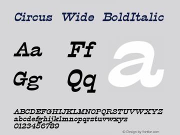 Circus Wide BoldItalic Altsys Fontographer 4.1 12/5/94 Font Sample