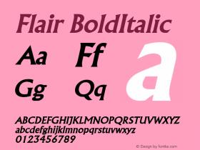 Flair BoldItalic Altsys Fontographer 4.1 2/1/95 Font Sample