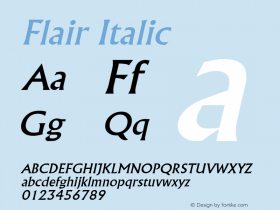Flair Italic Altsys Fontographer 4.1 2/1/95 Font Sample
