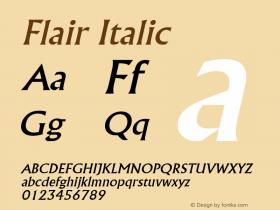 Flair Italic Altsys Fontographer 4.1 5/8/96 Font Sample