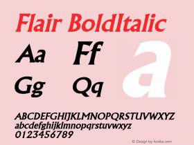 Flair BoldItalic Altsys Fontographer 4.1 5/8/96 Font Sample