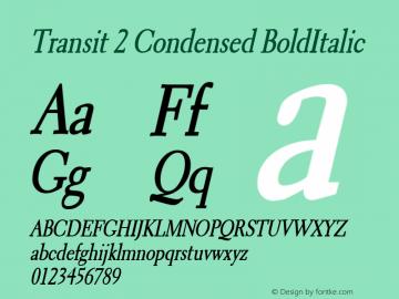 Transit 2 Condensed BoldItalic Altsys Fontographer 4.1 1/10/95 Font Sample