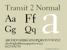 Transit 2 Normal Altsys Fontographer 4.1 1/10/95 Font Sample