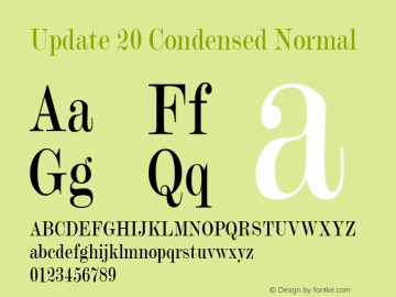 Update 20 Condensed Normal 1.0 Tue Oct 30 16:15:14 2001 Font Sample