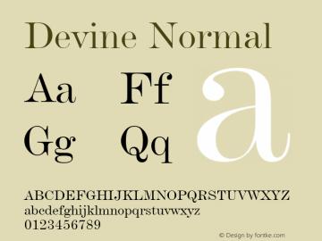 Devine Normal Altsys Fontographer 4.1 12/28/94 Font Sample