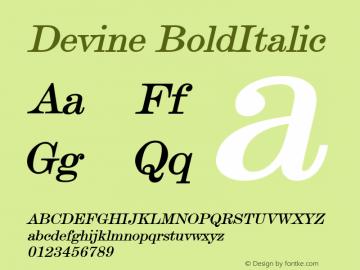 Devine BoldItalic Altsys Fontographer 4.1 12/28/94 Font Sample