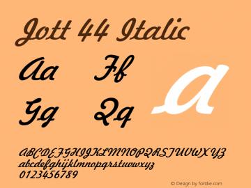 Jott 44 Italic 1.0 Wed Jul 28 17:23:28 1993 Font Sample