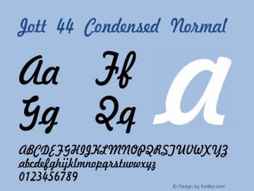 Jott 44 Condensed Normal 1.0/1995: 2.0/2001 Font Sample