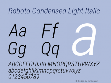 Roboto Condensed Light Italic Version 2.001047; 2015 Font Sample