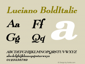 Luciano BoldItalic Altsys Fontographer 4.1 1/8/95 Font Sample