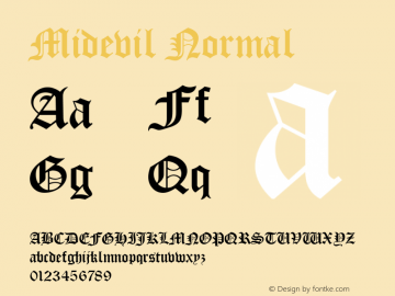 Midevil Normal Altsys Fontographer 4.1 5/9/96 Font Sample