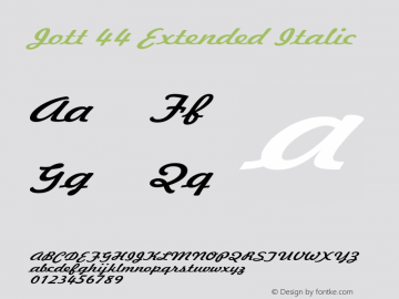 Jott 44 Extended Italic 1.0 Wed Jul 28 17:24:11 1993 Font Sample