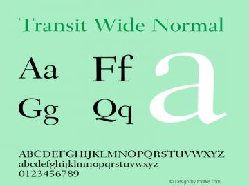 Transit Wide Normal Altsys Fontographer 4.1 1/10/95 Font Sample