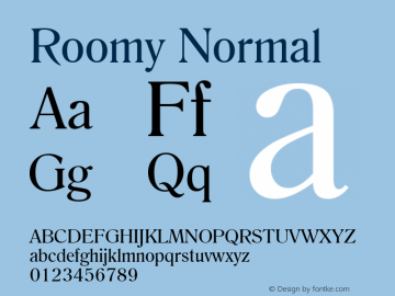 Roomy Normal Altsys Fontographer 4.1 6/11/96 Font Sample