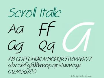 Scroll Italic Altsys Fontographer 4.1 2/2/95 Font Sample
