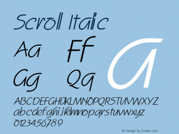 Scroll Italic Altsys Fontographer 4.1 11/3/95 Font Sample